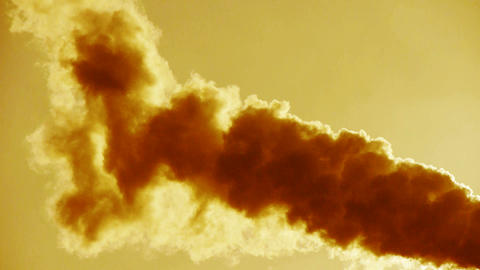 fumes billow at sunset,smoke stack,air pollution,energy... Stock Video Footage