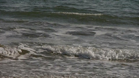 waves on sandy beach,white surge Stock Video Footage