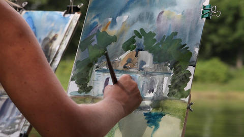 Painting Watercolor Stock Video Footage
