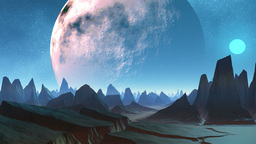 Huge planet and sharp peaks of mountains Stock Video Footage