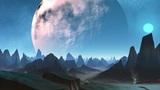 Huge Planet And Sharp Peaks Of Mountains stock footage