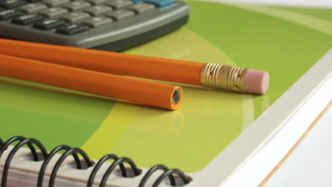 School and Office Supplies Dolly Shot Stock Video Footage
