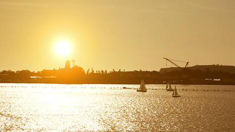 Sailing boat in the sea at sunset Stock Video Footage