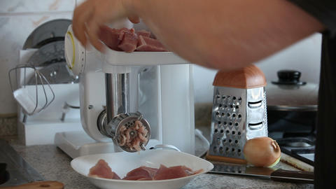 Working electric meat mincer timelapse Stock Video Footage