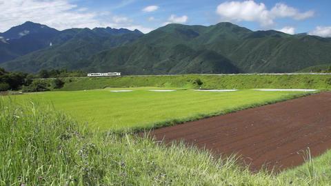 sky mountain train 空、山、列車 Stock Video Footage