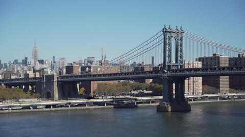The Brooklyn Bridge from a distance Footage