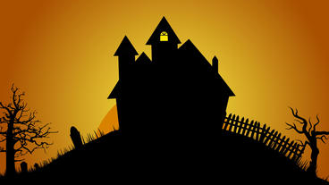 Creepy house ,graves and trees on hill design element for Halloween After Effects Template
