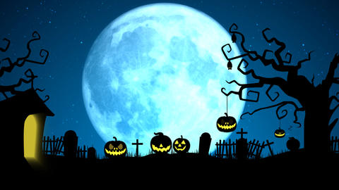Scary Halloween full moon with tree, pumpkin pop up and bats animations After Effects Template