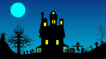Scary Halloween house on hill with tree, pumpkin ,scare crow pop up and bats After Effects Project