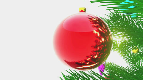 Decorated Christmas tree close-up on white background Animation