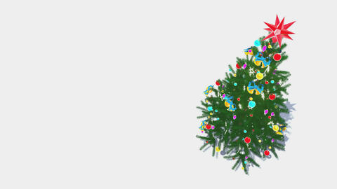 Rotating decorated christmas tree top-down view Loop 4K Animation