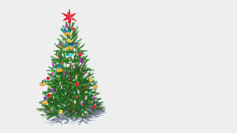Rotating decorated christmas tree on white background Loop 4K Animation