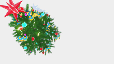 Rotating Xmas tree on white background top-down view Animation