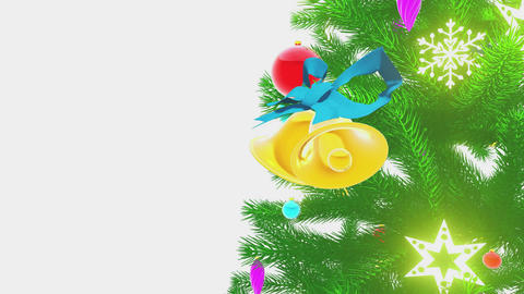 Rotating decorated christmas tree on white background Close-up Animation