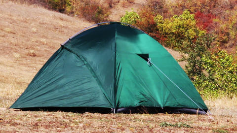 Green Tent At Nature stock footage