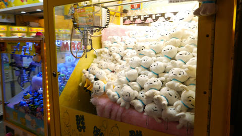 Claw crane machine full of white soft toy bears. Nobody, night market Footage