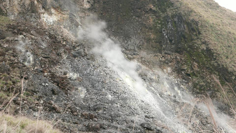 Dead rocky mountain toxic fumes from fumarole, TIMELAPSE Live Action