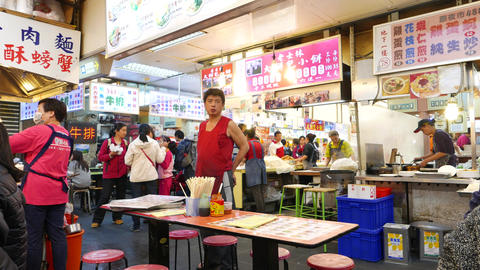Restaurant service man standing like boss, food court at market Footage