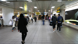 Ultramodern subway station, walking through to escalators up Footage