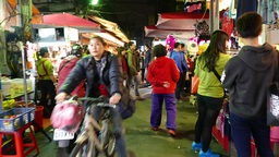 People and faces on night busy street of Taipei Footage