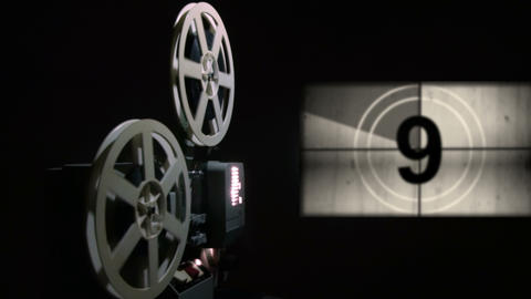 Old projector showing film. Universal film leader. Chroma Key Footage