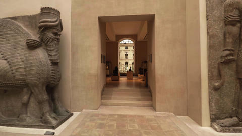 Art of Egypt. Louvre Museum in Paris. Rooms and interiors. France. 4K Footage