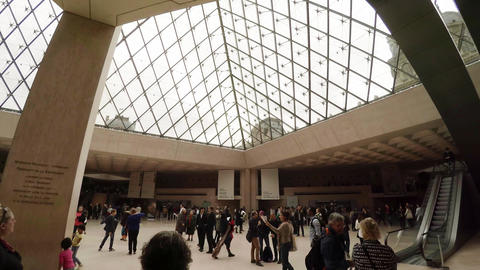 The entrance hall of the Louvre Museum in Paris. France. 4K Footage