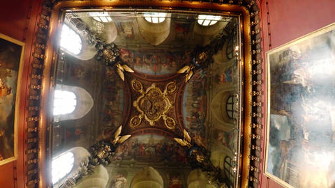 Magnificent painted ceilings in the Louvre museum in Paris. France. 4K Live Action