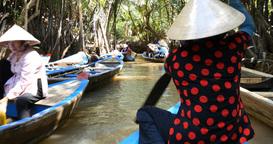 MEKONG DELTA, VIETNAM - 2015: Vietnamese boat lady southern Vietnam Footage