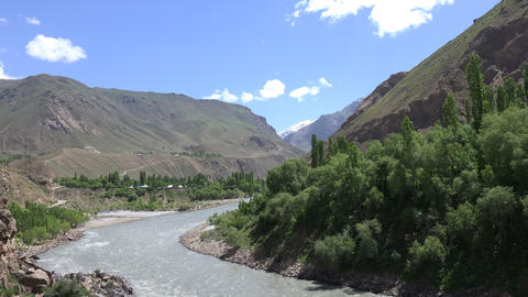 River Flowing Through Mountains, Pamir Mountains, Tajikistan Footage