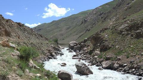 River Flowing Through Mountains, Pamir Mountains, Tajikistan stock footage