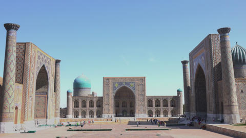 Registan Square, Samarkand, Uzbekistan Footage