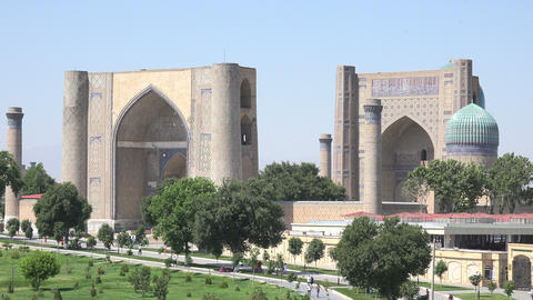 Bibi Khanum Mosque, Samarkand, Uzbekistan Footage