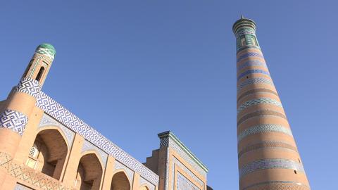 Islam Kodja Madrasah, Itchan Kala, Khiva, Uzbekistan Footage
