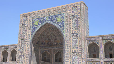 Tilya Kori Madrasah, Registan, Samarkand, Uzbekistan Footage