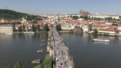 High angle view of tourists on Charles bridge Footage
