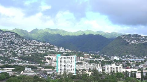 View of a City on a Hill, Waikiki Footage