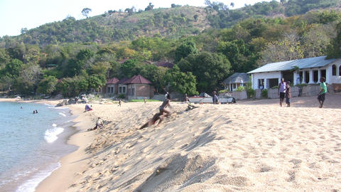 Children Playing on Beach, Nkhata Bay, Lake Malawi, Malawi Footage
