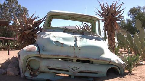 Abandoned Car In Namib Desert, Namibia stock footage