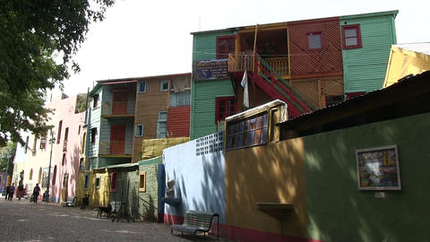 Colorful Houses Along Street Footage