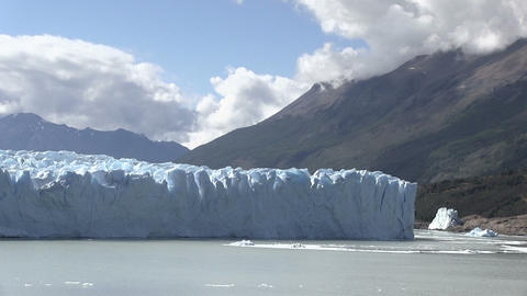 Perito Moreno Glacier Against Cloudy Sky Footage