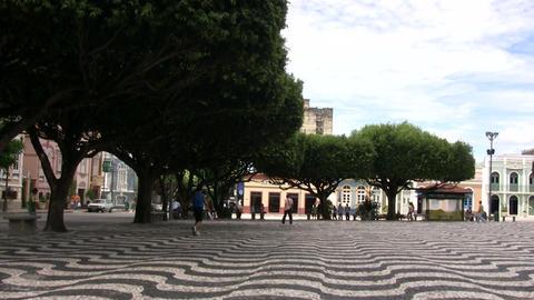 Tourist Walking at Praca Sao Sebastiao Footage