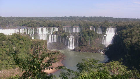 Elevated View of Waterfall, Iguazu Falls Footage