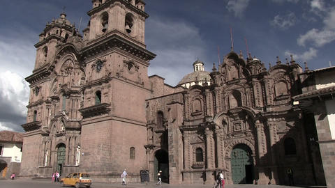 Cathedral of Cusco at Plaza de Armas Footage