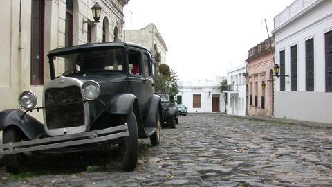 Vintage car on street, Colonia del Sacramento Footage