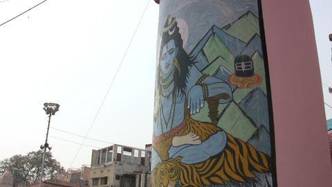 God Graffiti On Column stock footage