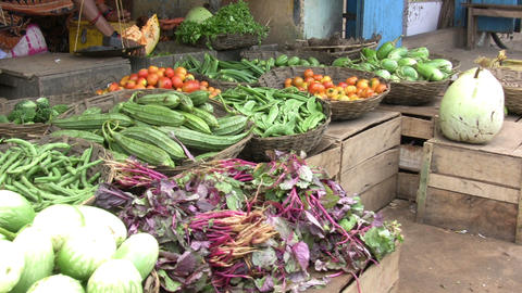 Vegetables at market stall Footage
