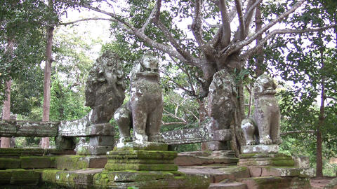 Lions statues at Banteay Kdei Footage