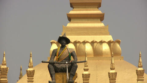 Pha That Luang, Vientiane, Laos Footage