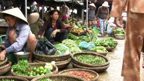 Vendors Selling Vegetables In Market Footage